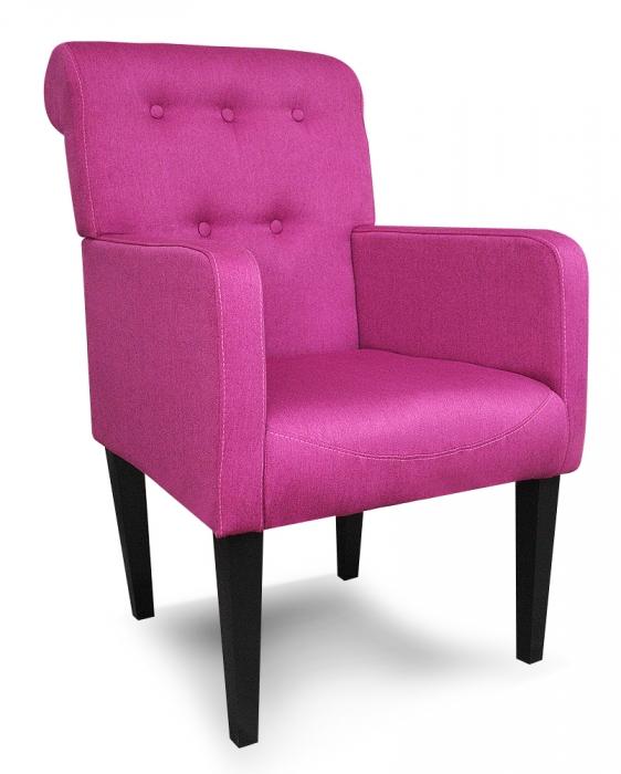 fotel art deco różowy oparcie baranek