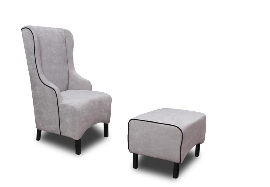 fotele fabio czarny podnóżek
