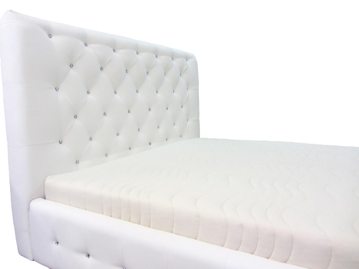 łóżko livorno 180 x 200 cm białe zbliżenie wezgłowie