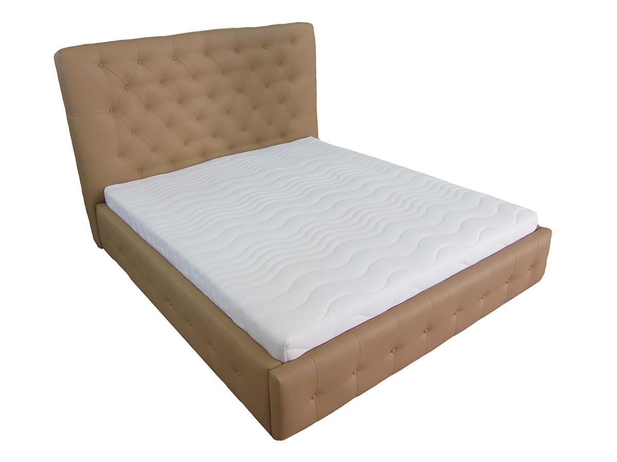 łóżko livorno 180 x 200 cm eko skóra brązowa materac