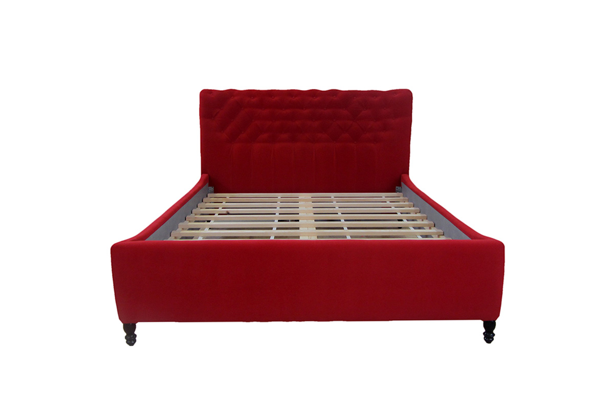 łóżko verona 120 x 200 cm wysoka czerwona brak materaca przód