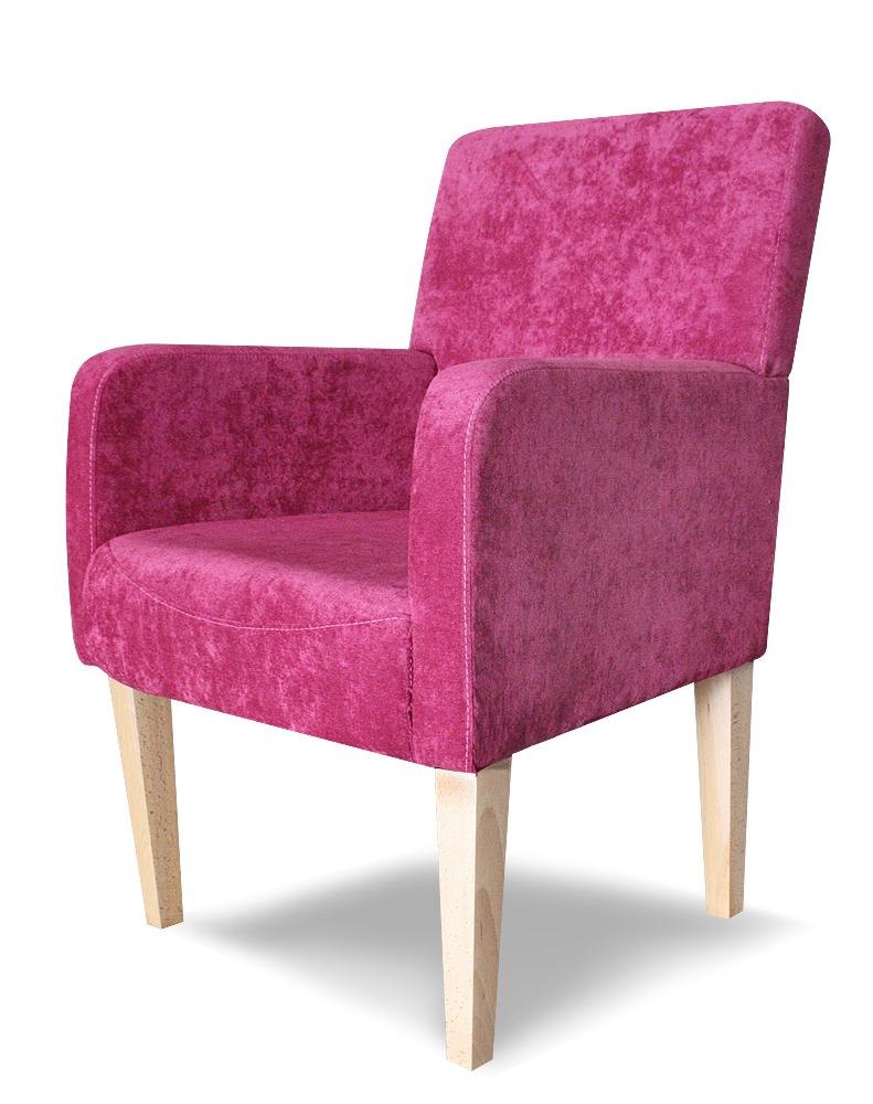 fotel styl plus rózowy naturalne nogi
